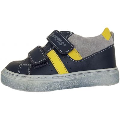 Pantofi baieti, din piele naturala, model sport, bleumarini cu gri si galben, talpa gri prafuit, 2 clapete cu scai.