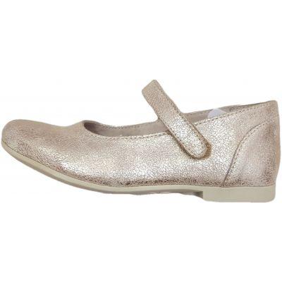 Pantofi fete, din piele naturala, model balerini, culoare aurie, cu o clapeta de prindere