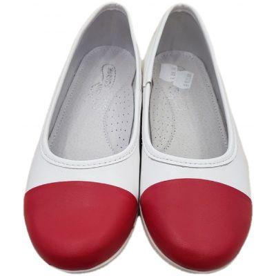Pantofi fete, din piele naturala, model balerini, albi cu varful lacuit rosu, talpa alba.