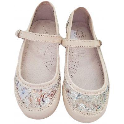 Pantofi fete, model balerini, din piele naturala box, crem cu model in solzi floral, cu o clapeta cu scai