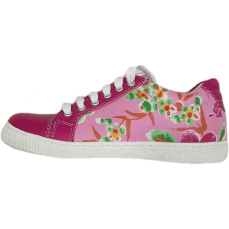Pantofi fete, model sport, din piele naturala fuxia cu roz deschis si imprimeu floral, talpa alba si sireturi albe
