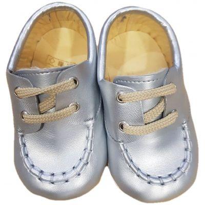 Botosi bebe fete din piele ecologica, argintii cu sireturi crem