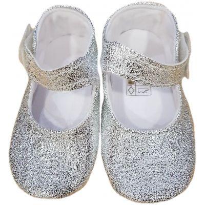 Botosi bebe fete, model balerini, din piele ecologica, argintii cu o clapeta cu scai, cu interiorul alb