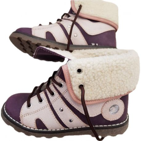 Ghete fete imblanite, din piele naturala box mov cu roz prafuit , cu sireturi grena si fermoar pe lateral