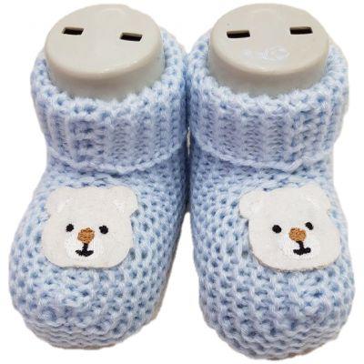 Botosi tricotati pentru baieti, bleu, cu ursuleti ivory