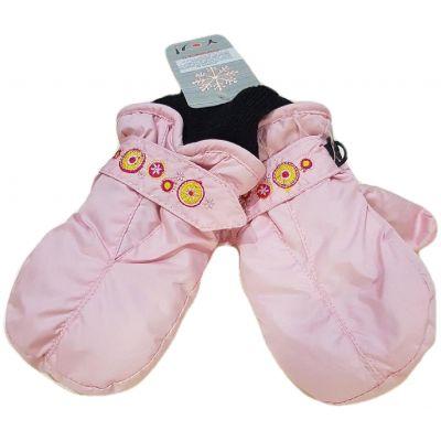 Manusi impermeabile dublate, de culoare roz pudra, cu reglaj cu skay la maneci, model fara degete