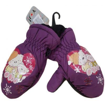 Manusi impermeabile dublate, de culoarea violet, cu elastic la maneci si imprimeu winnie the pooh