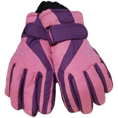 Manusi impermeabile, dublate,  culoare roz cu violet, cu reglaj cu skay la maneci, model cu degete