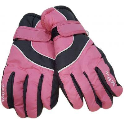 Manusi impermeabile, dublate,  culoare roz cu gri si dungi albe, cu reglaj cu skay la maneci, model cu degete