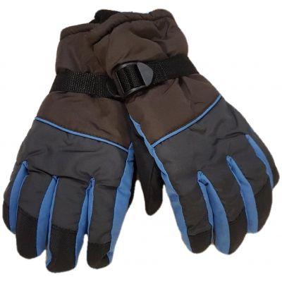 Manusi impermeabile, dublate,  maron cu bleumarin si cu bleu, cu reglaj cu catarama la maneci, model cu degete