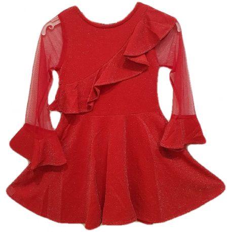 Rochie fete, rosie ,din lurex ,model clos ,cu maneci transparente si manseta clopot