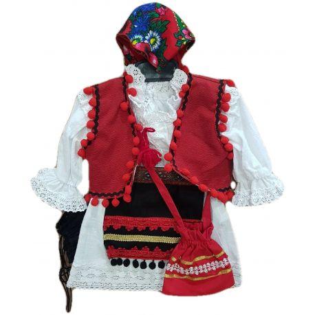 Costum tradițional pentru bebe fete, compus din rochie alba , fota neagra  , vesta rosie ,opinci negre si batic floral