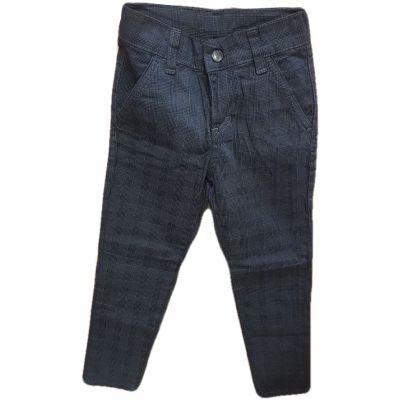 Pantalon baieti, model slim,din tercot bleumarin cu patratele
