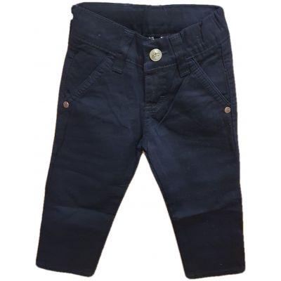 Pantalon baieti, model slim, cu reglaj in talie si capse la buzunare, culoare bleumarin