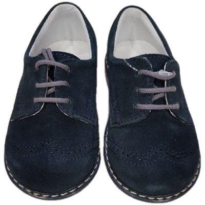 Pantofi baieti,din piele naturala velur, culoare bleumarin ,model clasic cu închidere snur