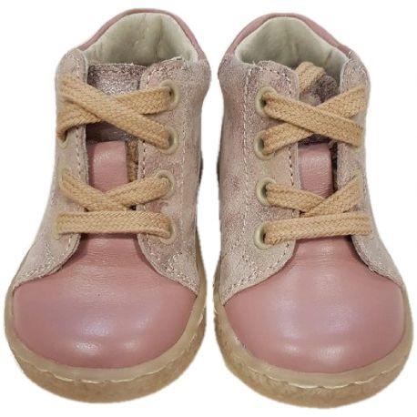 Ghete din piele naturala pentru fete, culoare roz pudra cu laterale din piele în ape, închidere cu snur natur