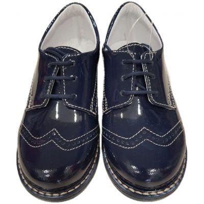 Pantofi din piele naturala lacuita  pentru baieti, culoare bleumarin,model clasic cu inchidere snur