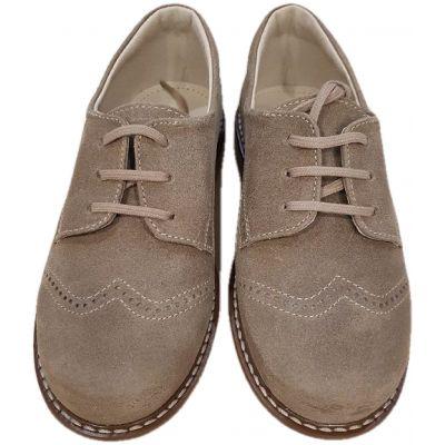 Pantofi din piele naturala velur,  pentru baieti, model clasic de culoare cafea cu lapte, inchidere cu snur