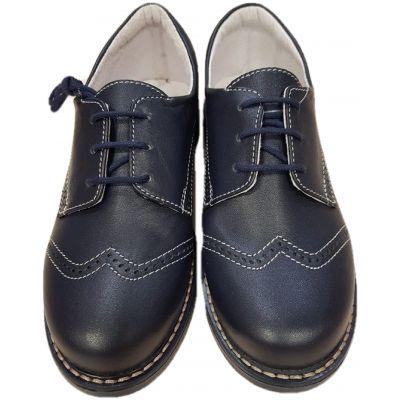 Pantofi din piele naturala box, pentru baieti ,culoare bleumarin, inchidere cu snur