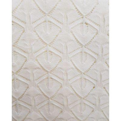 Paturica tricotata ivory, dimensiune 95x95cm, cu modele frunzulite