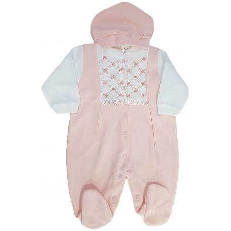 Salopeta bebe fete, cu botosei si fes asortat, culoare ivory si coray deschis, inchidere totala in capse