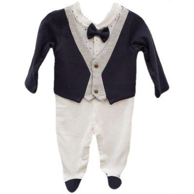 Salopeta bebe baiat, culoare ivory cu bleumarin și gri și papion gri
