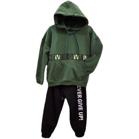Trening pentru baieti, din doua piese, hanorac verde si pantalon negru