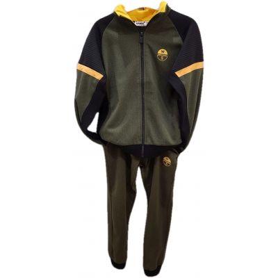 Trening pentru baieti, din doua piese, hanorac kaky cu negru si galben  si pantalon kaky