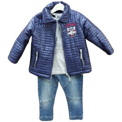 Compleu baiat compus din jacheta bleumarin, tricou gri si jeans