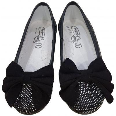 Pantofi din piele naturală pentru fete, de culoare negru pepit, cu fundă neagră pe față