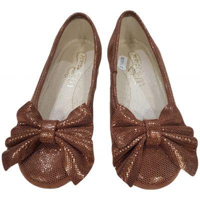 Pantofi din piele naturală pentru fete, de culoare coniac, cu fundă pe față