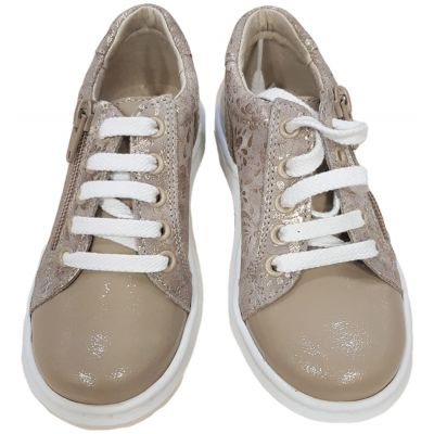 Pantofi sport din piele naturală pentru fete de culoare crem cu auriu cu inchidere șnur alb și fermoar lateral