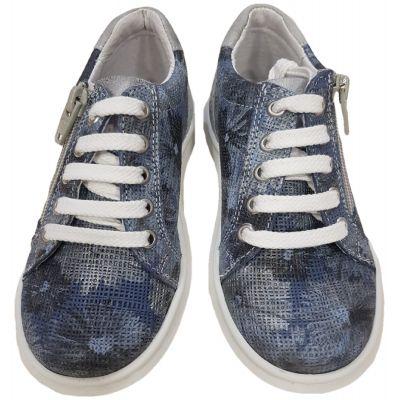 Pantofi sport din piele naturală pentru fete de culoare denim si flori cu ichidere șnur alb și fermoar lateral