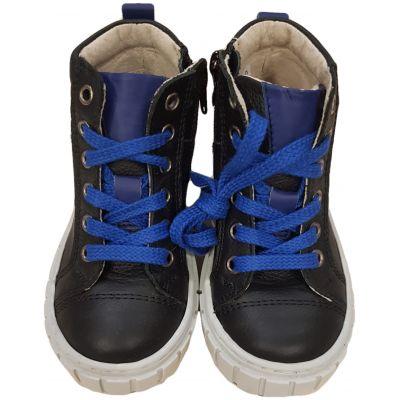 Ghete din piele naturală pentru băieți de culoare bleumarin cu șireturi albastre și fermoare laterale