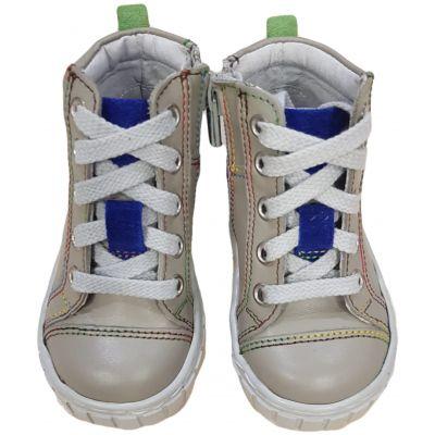 Ghete din piele naturală pentru băieți de culoare gri si bleumarin cu șireturi gri și fermoare laterale.