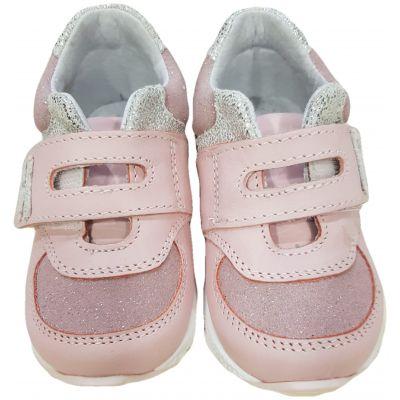 Pantofi sport din piele naturală pentru fetițe, model cu susținere gleznă de culoare roz pal cu argintiu