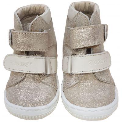 Ghete din piele naturală pentru bebe fetițe, model cu susținere gleznă și talonet interior de culoare auriu cu bej