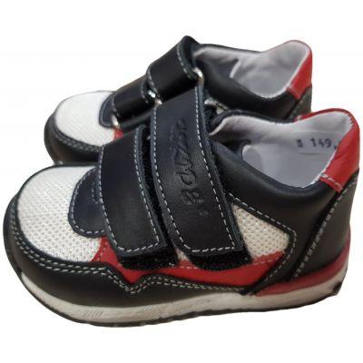 Pantofi sport din piele naturală pentru bebe băiat, model cu susținere gleznă negri cu alb și roșu