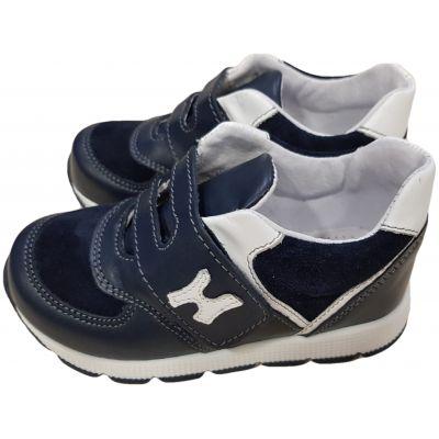 Pantofi sport din piele naturală pentru băieți de culoare bleumarin cu alb