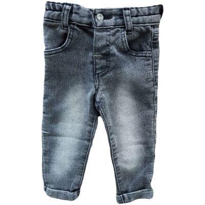 Blugi slim pentru bebe băiat de culoare gri fume cu reglaj în talie