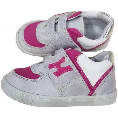 Pantofi sport din piele naturala pentru fetite, gri deschis cu fucsia