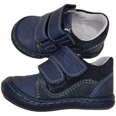 Pantofi sport din piele naturala pentru baieti, bleumarin cu inchidere in doua clapete