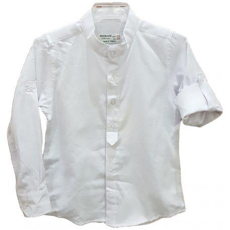 Camasa alba pentru baieti cu guler tunica