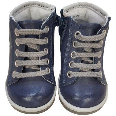 Ghete din piele naturala, pentru baieti de culoare bleumarin, cu model lateral bleu