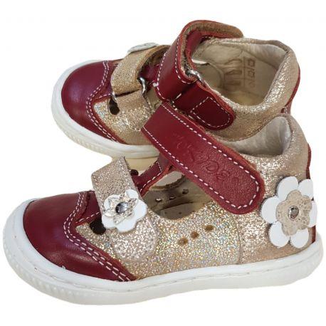 Pantofi pentru fetite, din piele naturala de culoare bordo cu auriu