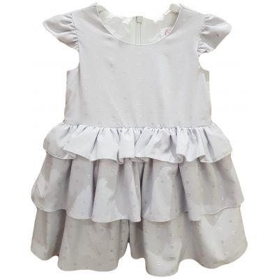 Rochie pentru fete, din matase naturala de culoare gri deschis