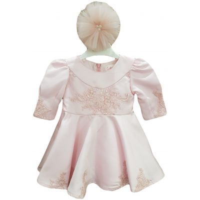 Rochie pentru bebe fetita, de culoare roz pal cu funda din tulle cu perle