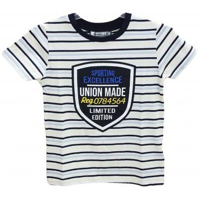 Tricou pentru baieti, cu maneca scurta, alb cu dungi bleumarin