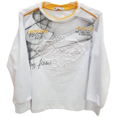Tricou pentru baieti, cu maneca lunga, de culoare alb cu bata galbena