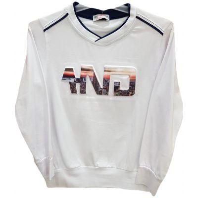 Tricou pentru baieti, cu maneca lunga, de culoare alb cu bata bleumarin